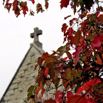 The cross on top of ST。弧教堂琼 framed by fall leaves